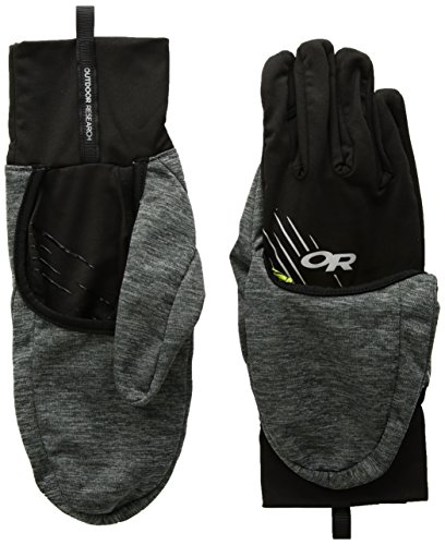 Outdoor Research Overdrive Convertible Gloves, Charcoal Heather/Black, Large