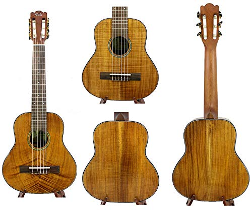 Alulu Handmade Solid Curly PQ Acacia Koa Wood Baritone Guitarlele. Including One Hard Case.