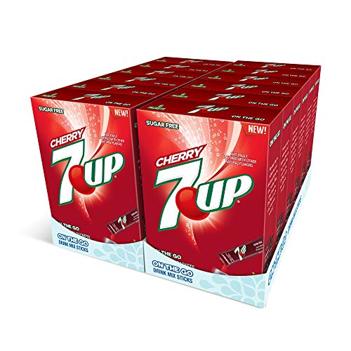 7-UP, Cherry – Powder Drink Mix - (12 boxes, 72 sticks) – Sugar Free & Delicious, Makes 72 flavored water beverages