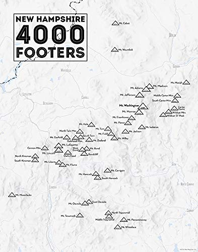 Best Maps Ever New Hampshire 4000 Footers Map 11x14 Print (Gray)