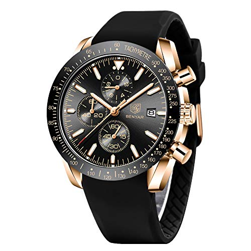 BENYAR - Stylish Wrist Watch for Men, Genuine Silicone Strap Watches, Perfect Quartz Movement, Waterproof and Scratch Resistant, Analog Chronograph Quartz Business Watches, Best Mens Gift.