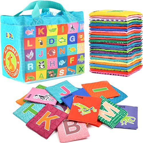 BleuZoo Soft Alphabet Cards - Baby Educational Preschool Early Learning ABC Letters Flash Cards Classroom Montessori Teaching Toy for Kids Toddlers - 26 Letters & Cloth Storage Bag