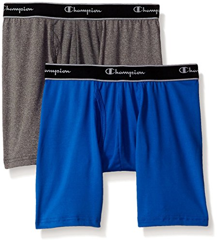 Champion Men's 2-Pack Tech Performance Boxer Brief, Awesome Blue/Dynamic Grey Heather, Medium