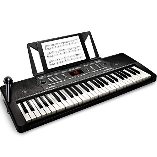 Alesis 54-Key Electric Keyboard Piano with Speakers, Microphone, Music Rest, Educational Tools, Sounds, 300 Rhythms and 40 Demo Songs (MELODY54)