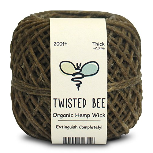 Twisted Bee Thick x 200ft, Organic Hemp Wick with Natural Beeswax Coating