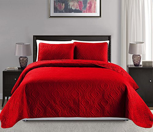Mk Collection King/California King Over Size 118'x106' 3 pc Diamond Bedspread Bed-Cover Embossed Solid Red New