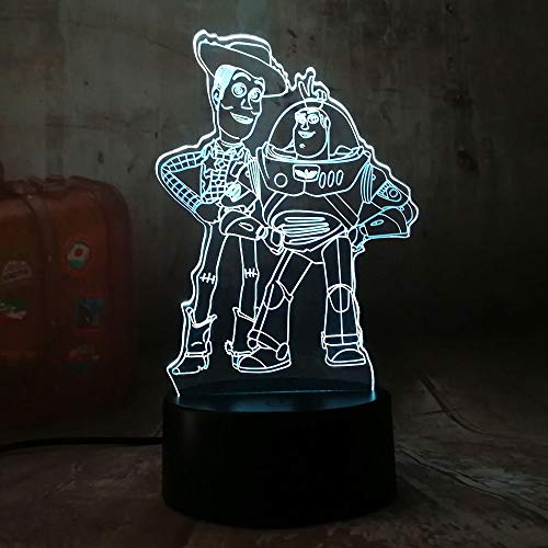 Cute Toy Story Buzz Lightyear Woody 3D LED RGB Night Light 7 Color Change Desk Lamp USB Remote Child Kids Christmas Gift Home Decor(Toy Story Friends)