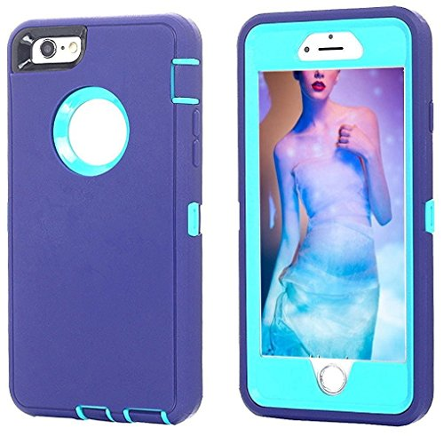 AICase iPhone 8 Plus/7 Plus Case, [Heavy Duty] [Full Body] Tough 3 in 1 Rugged Shockproof Water-Resistance Cover for Apple iPhone 8 Plus/7 Plus (Light Blue/Purple)