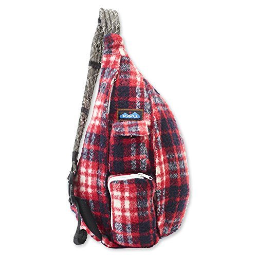 KAVU Plaid Rope Sling Bag Crossbody Backpack with Adjustable Shoulder Strap - Americana