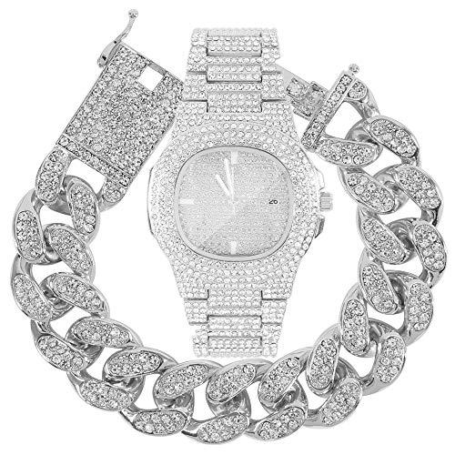 Luxury Men 18K Gold Plated Iced Out Rhinestone Quartz Wrist Watch Cuban Link Bracelet Set