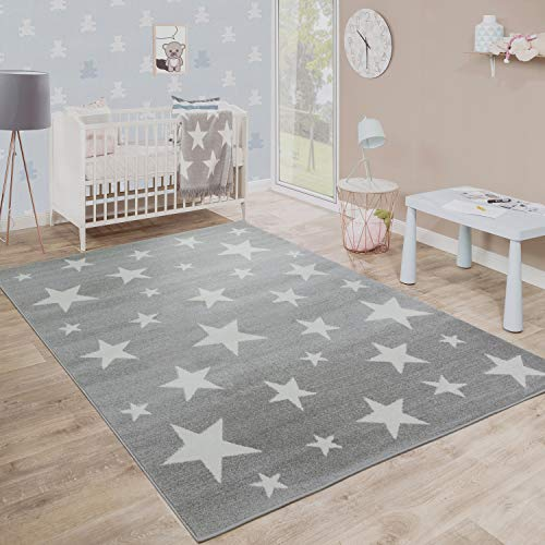 Kids Room Rug Starry Sky Design Star Trend for Playroom Pastel in Grey White, Size:3'11' x 5'7'