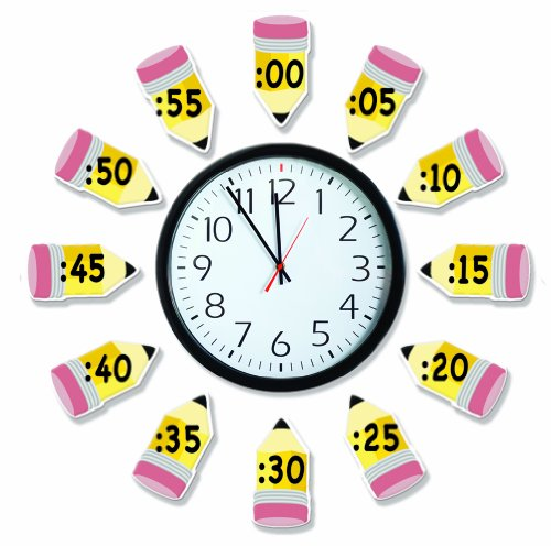 Eureka 'Telling Time' Bulletin Board Analog Clock Practice, 4pc, 17'' W x 24'' L, Model Number: 847423-AWZM