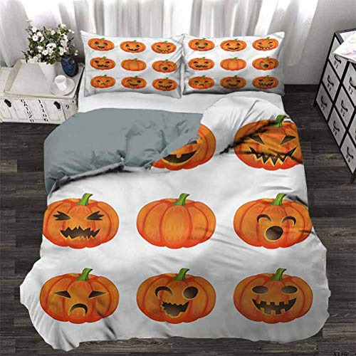 HouseLookHome Duvet Cover Set Quilt Cover Pumpkin College Bedding Sets Happy Sad Jack o Lanterns Modern for Men and Women Decorative 3 Piece Bedding Set with 2 Pillow Shams, King Size