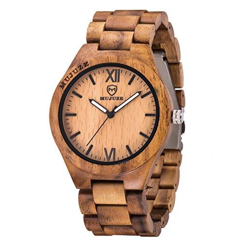 Wooden Watch,BIOSTON Natural Handmade Wood Watches for Men,Watches Wood Box,Wooden Watches Men