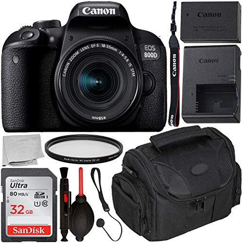 Canon EOS 800D DSLR Camera with 18-55mm is STM Lens & Starter Accessory Bundle – Includes: SanDisk Ultra 32GB SDHC Memory Card + Camera Carrying Case + Ultraviolet Filter + Lens Cap Keeper + More