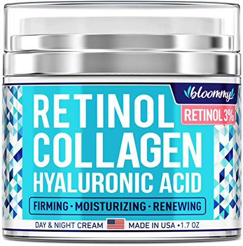 BLOOMMY Collagen & Retinol Cream - Made in USA - Anti Aging Cream for Face with Hyaluronic Acid - Anti Wrinkle Day & Night Retinol Moisturizer 1.7 oz