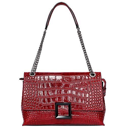 PIJUSHI Women Shoulder Bag Crossbody Bags Designer Crocodile Chain Purses (27002, Red Croco)