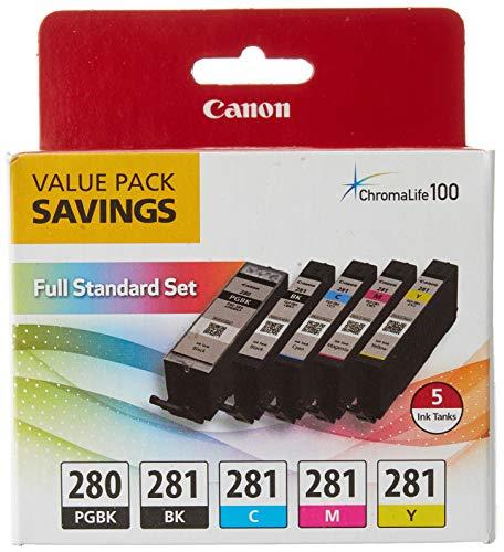 Canon PGI-280 / CLI-281 5 Color Ink Pack, Compatible to TS8120,TS6120,TR8520,TR7520, and TS9120 Wireless Printers, Multi, PGI-280 Full Standard Set