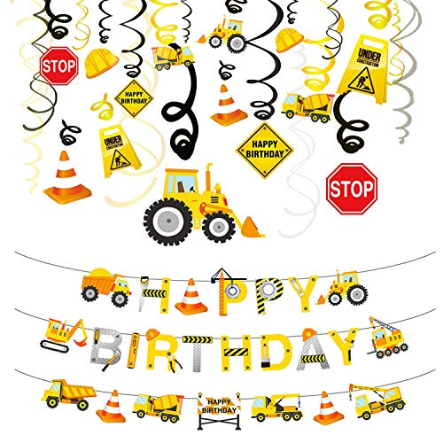 Phogary 31PCS Construction Birthday Party Decorations Set, Boys Birthday Construction Theme Party Favors Supplies Tractor Banner Excavators Bulldozers Dump Trucks Decor