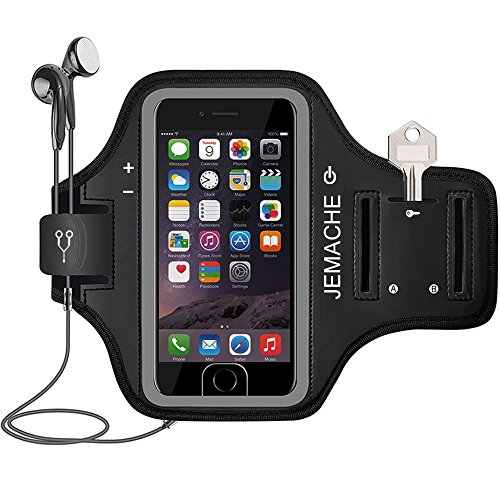 iPhone 6 7 8 SE(2020) Armband, JEMACHE Fingerprint Touch Supported Gym Running Workout Exercise Arm Band Case for iPhone 6/6S/7/8/SE (4.7 inch) with Key Holder (Black)