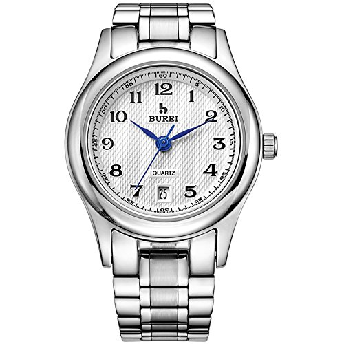 BUREI Women's Quartz Watch with Simple Arabic Numerals and Stainless Steel Strap (White)