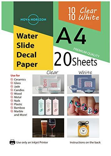 Nova Horizon Waterslide Decal Paper for Inkjet Printer (Clear/White, 20)