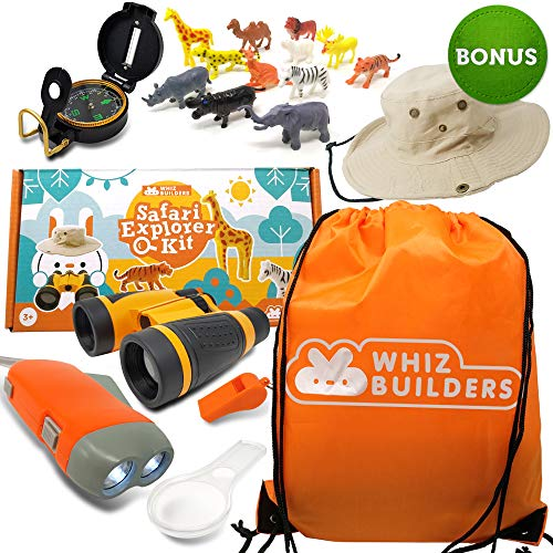 WhizBuilders Kids Explorer Kit - Outdoor Binoculars , Animal Figurines , Hand Crank Flashlight , Safari Boonie Hat , Camping Gear , Magnifying Glass , Compass - Educational Toddler Toys for Kids
