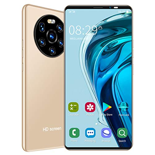 LANDVO mate40 Pro Unlocked Smartphone, 5.45in 1+8GB HD Screen Phone Dual Card Dual Standby Smart Phone 128GB of Expandable Storage Android Cell Phone Face Recognition Fingerprint Mobile Phone(Gold)