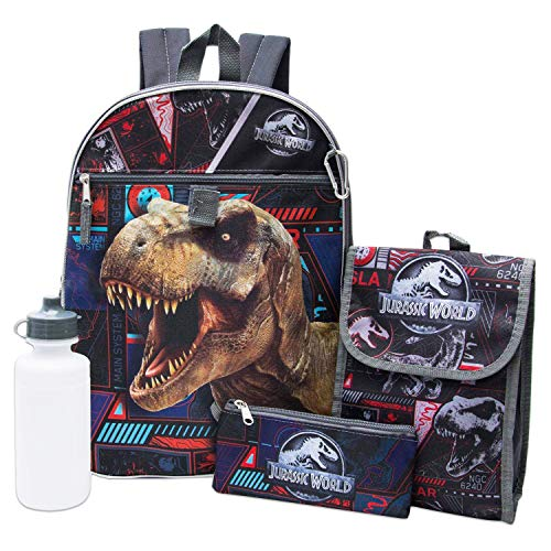 Jurassic World Backpack 5-Piece Set -- Jurassic World Backpack, Lunch Bag, Water Bottle and More (Jurassic World School Supplies)