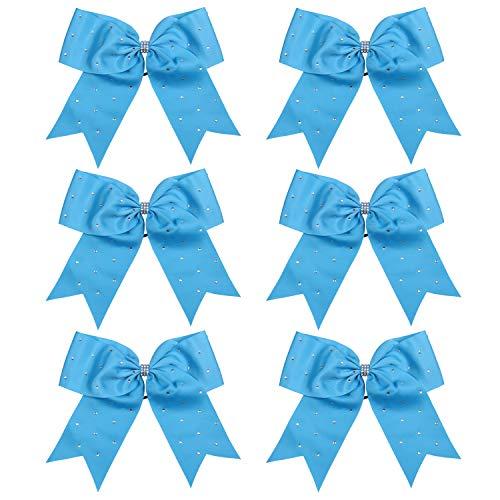 8 Inch Jumbo Cheerleader Bows with Rhinestones Ponytail Holder Cheerleading Bows Hair Tie 6 Pcs College (Sky Blue)