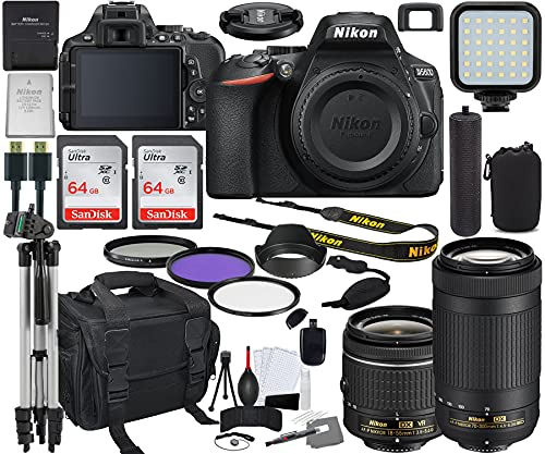 Nikon D5600 DSLR Camera with 18-55mm and 70-300mm Lens Bundle (1580) + Prime Accessory Kit Including 128GB Memory, Light, Camera Case, Hand Grip & More