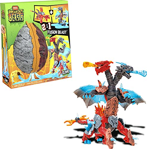 Mega Construx Breakout Beasts 2-in-1 Fusion Beast Construction Set with 2 Buildable Figures, Slime for Kids