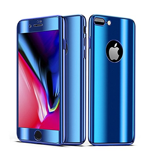 Leagway iPhone 8 7 Case Cover, Ultra Slim Electroplate 360 Degree Full Body Protection Anti-Scratch Mirror Case with Tempered Glass Screen + Hard PC Protector for Apple iPhone 7/8 (Blue)