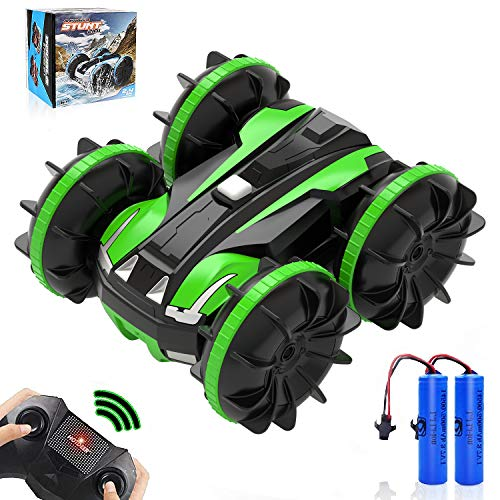 Amphibious Remote Control Car, 4WD Off Road Monster Car, 2.4 GHz RC Stunt Car with 2 Rechargeable Battery, Double Sided 360° Rotating Land Water 2 in 1 Waterproof Remote Car, Green