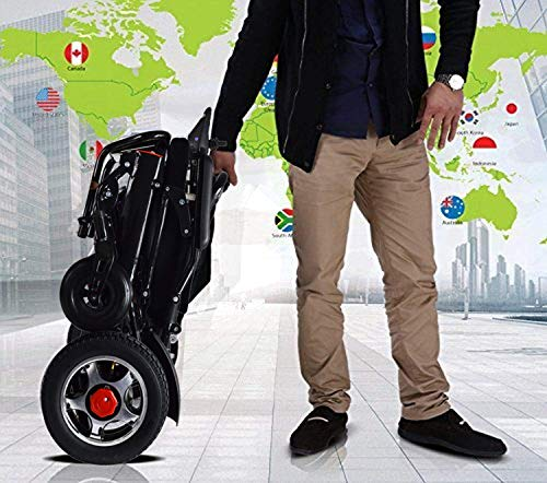 2020 Lightweight Electric Power Wheelchair Mobility Scooter, Aviation Travel Safe Motorized Electric Wheelchair Mobility Aid (Black)