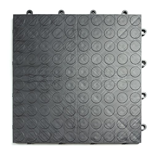 GarageDeck Coin Pattern, Durable Interlocking Modular Garage Flooring Tile (48 Pack), Graphite
