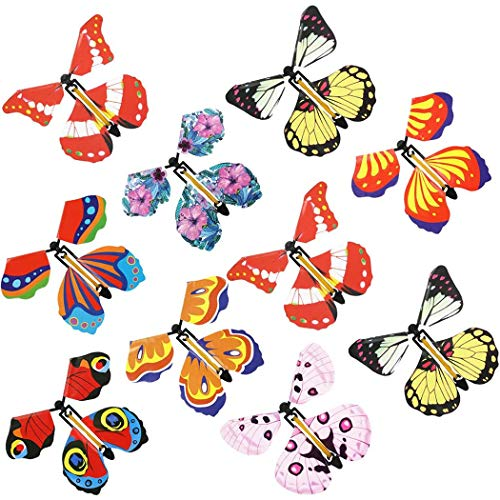 Aniwon 10PCS Magic Fairy Flying Butterfly Rubber Band Powered Wind up Butterfly Toy for Surprise Gift or Party Playing