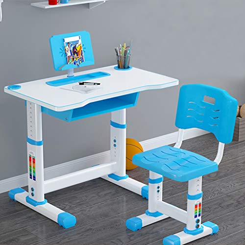 Height Adjustable Kids Desk and Chair Set, Children Study Desk Table & Chair Drawing Set Bookstand with Storage Drawer Pen Container, Writing Table Set for Children, Multifunctional Stud