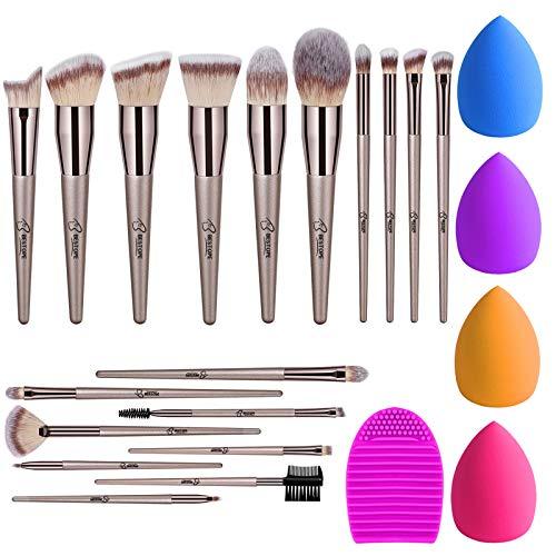 BESTOPE 18Pcs Makeup Brushes Set, 4Pcs Beauty Blender Sponge Set and 1 Brush Cleaner, Premium Synthetic Foundation Make Up Brushes Kit Champagne Gold Conical Handle