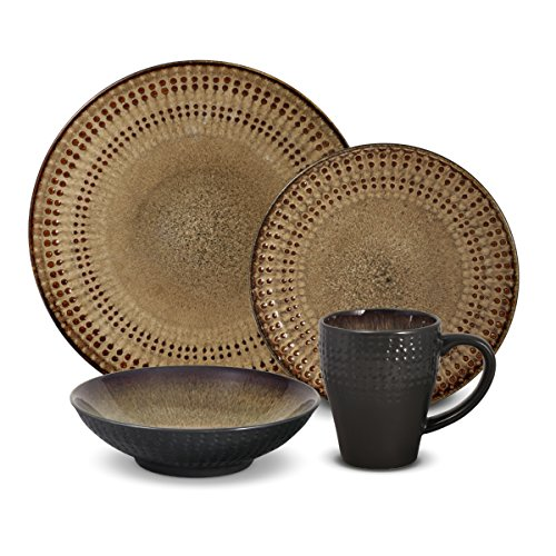 Pfaltzgraff Cambria 16-Piece Stoneware Dinnerware Set, Service for 4, Brown