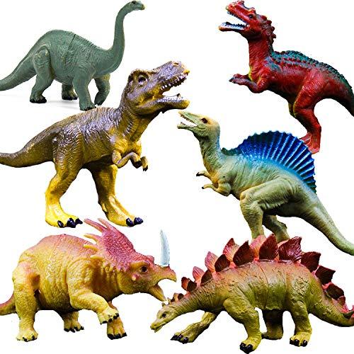 Realistic Dinosaur Figure Toys, 6 Pack 7' Large Size Plastic Dinosaur Set for Kids and Toddler Education, Including T-rex, Stegosaurus, Monoclonius, etc