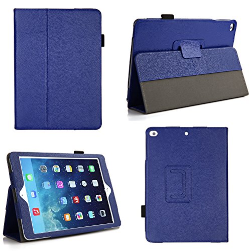 Bear Motion for iPad Air 1 and New iPad 9.7 2017 - Genuine Cowhide Leather Case with Hand Strap, Built-in Stand and Auto Wake/Sleep Function for Apple iPad Air 1 - Blue