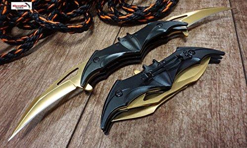 Kidan Knives Batman Dark Knight Bat Spring Assisted Open Folding Double Blade Dual Twin 3 Colors Pocket Knife Tactical Belt Clip Black Gold Rainbow Knives Great Gift (Gold)
