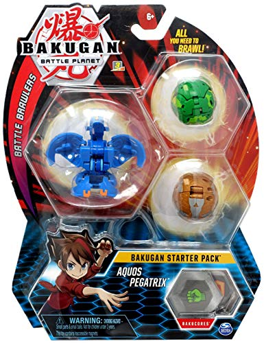 Bakugan Starter Pack 3-Pack, Aquos Pegatrix, Collectible Transforming Creatures, for Ages 6 and Up