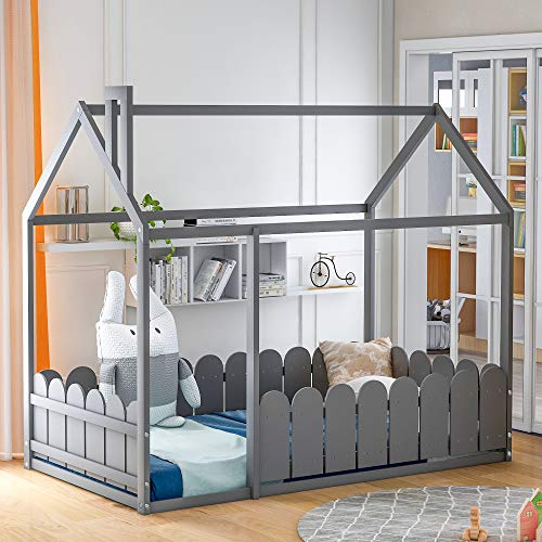 Merax House Bed Twin Size Wood Bed Frame with Roof and Fence for Kids, Teens, Girls, Boys, Weight Capacity No Limit (Grey)