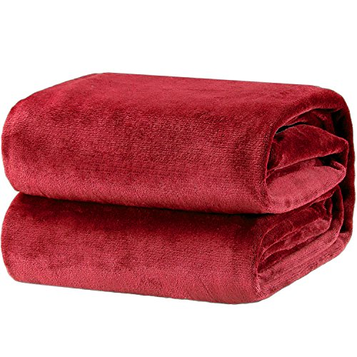 Bedsure Fleece Blanket Twin Size Burgundy Lightweight Super Soft Cozy Luxury Burgundy Blanket Microfiber