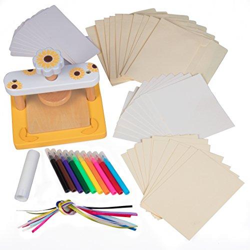 Wood Flower Press Kit - No Screws for Easier Crafting - Includes Bookmark, Ribbons, notecards, envelopes, Markers, Blotting Papers, cardboards, Glue Stick