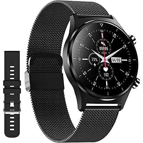 Smart Watch for iPhone Compatible iOS Android Phones,XJWATCH Fitness Tracker,Heart Rate,Blood Pressure,SpO2 Monitor,1.28 inch Full Touch IP68 Waterproof Smartwatches for Men Women