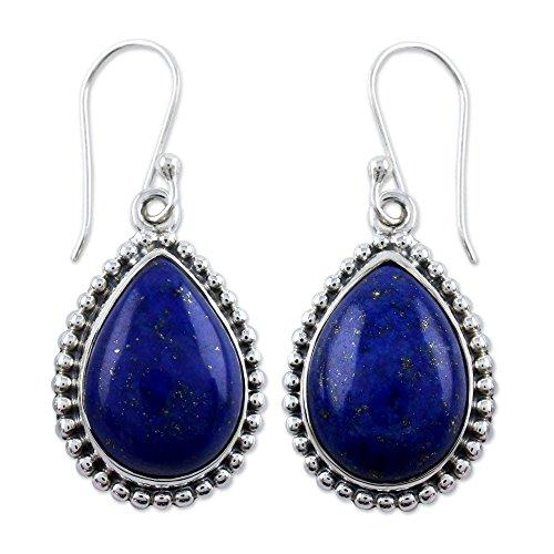 NOVICA Lapis Lazuli Teardrop .925 Sterling Silver Dangle Earrings 'Inspiration'