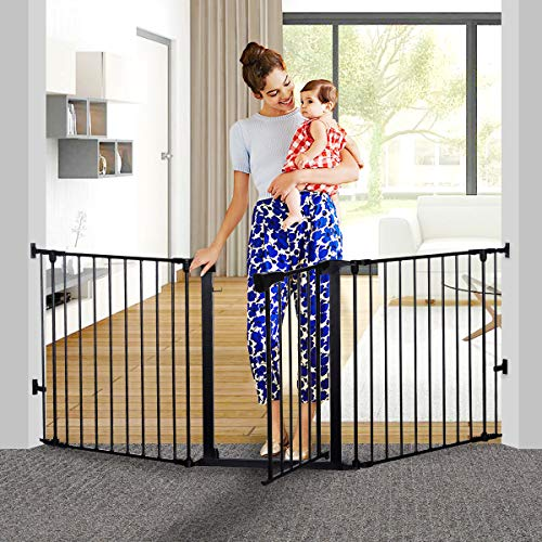 KingSo 80 inch Auto Close Baby Gate Super Wide Safety Gate Foldable Extra Wide 33-80 inch Walk Thru for House Stair Doorways Hallways Include Hardware Mounts(30' Tall, Black)